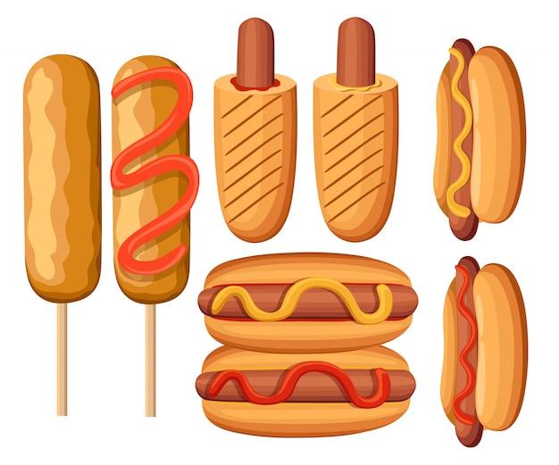 Variações de cachorro-quente. salsicha, bratwurst e outras ilustrações de junk food fast food restaurante menu ícones coloridos coleção ilustração. página do site e aplicativo móvel Vetor Premium