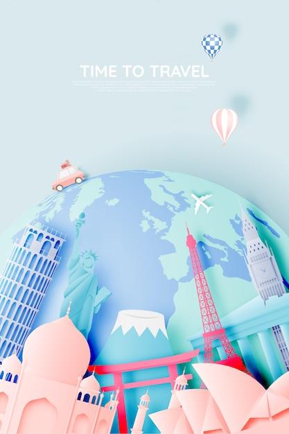 Várias atrações de viagem em estilo de arte em papel Vetor Premium