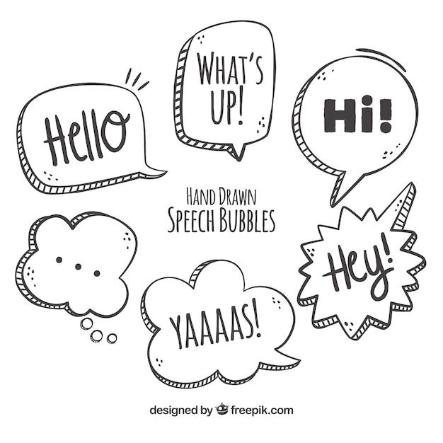 Várias bolhas de fala desenhadas a mão Vetor grátis