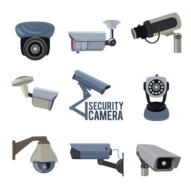 Várias câmeras de segurança Vetor Premium