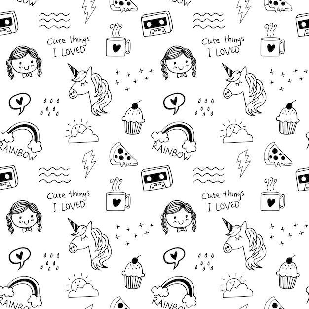 Várias coisas fofas doodle fundo sem emenda Vetor Premium
