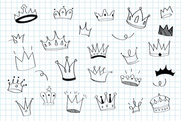 Várias coroas doodle ilustração vector Vetor grátis
