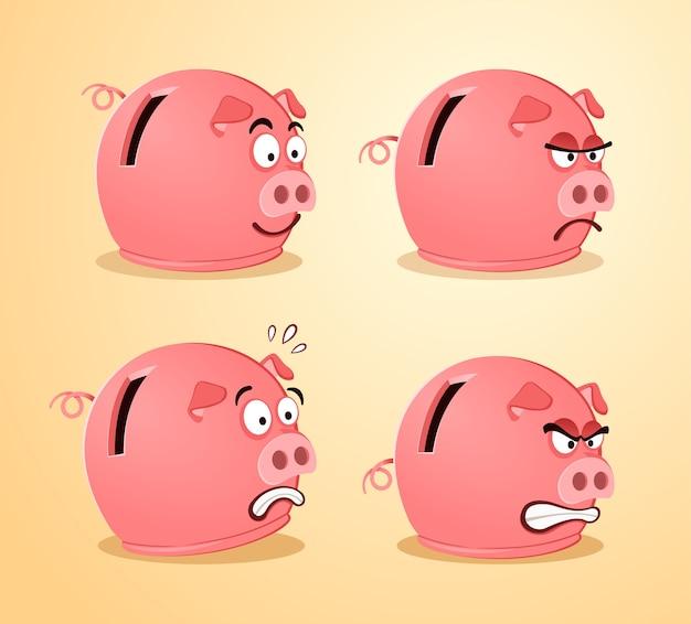 Várias expressões de piggybank Vetor Premium