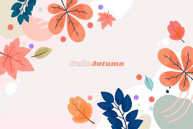 Várias folhas de outono mão desenhado fundo Vetor Premium