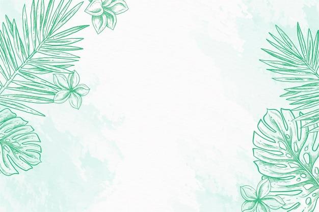 Várias folhas em pó fundo pastel mão desenhada Vetor grátis