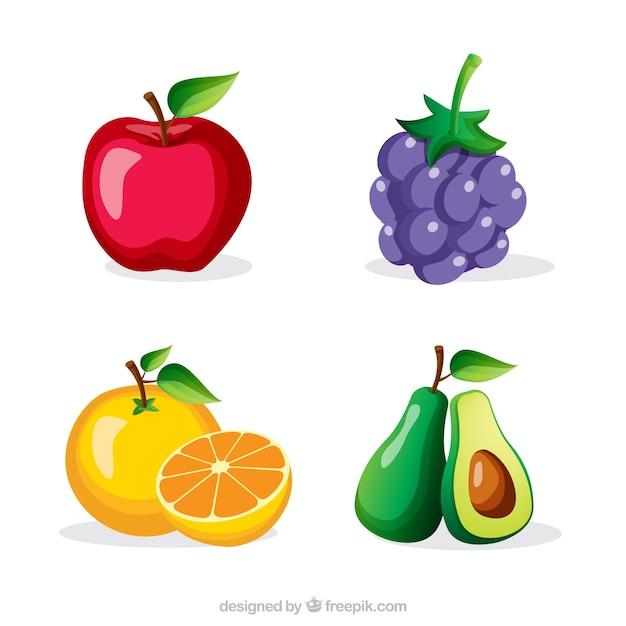Várias frutas saborosas Vetor Premium