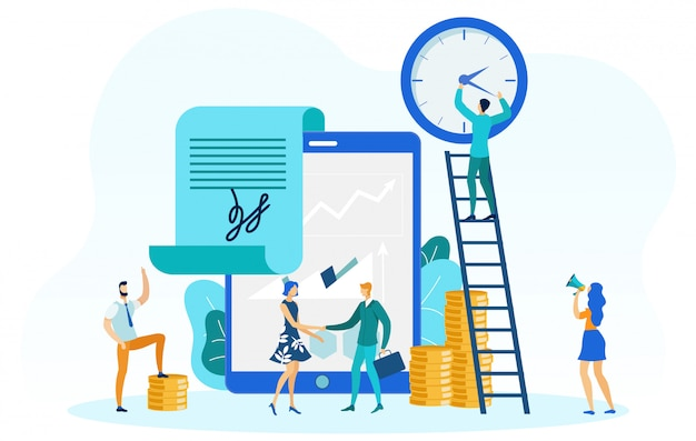 Várias ilustrações de atividades de negócios Vetor Premium