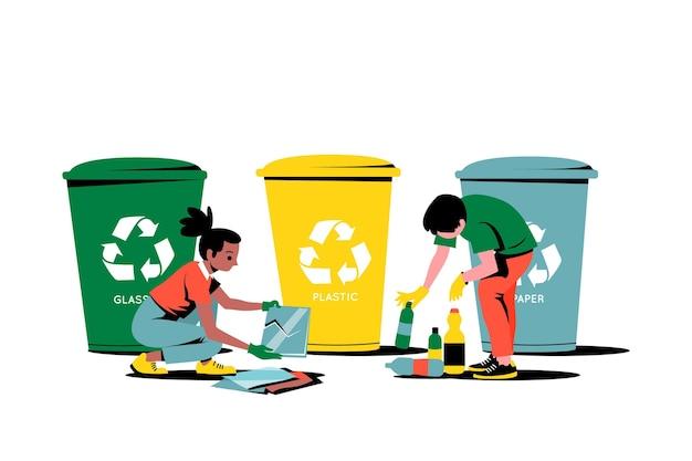 Várias lixeiras e pessoas que limpam Vetor grátis
