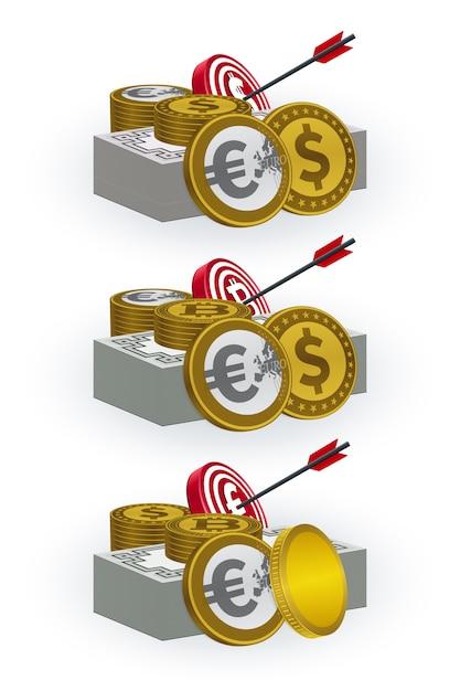 Várias moedas, notas, placas de alvo e símbolos de seta Vetor Premium