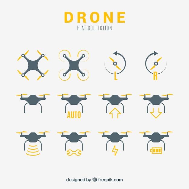 Variedade básica de drones planos Vetor Premium