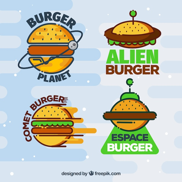 Variedade, coloridos, hamburguer, logotipos Vetor grátis