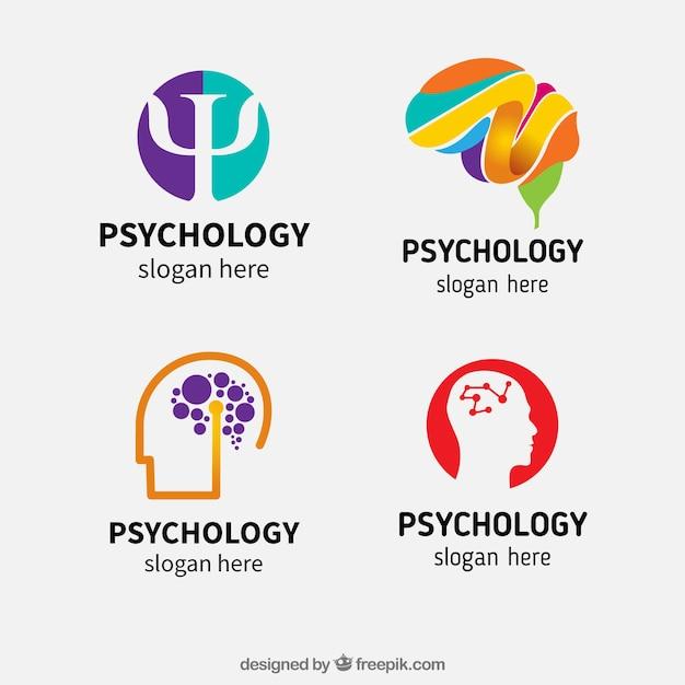 Variedade de abstract logos psicologia Vetor grátis