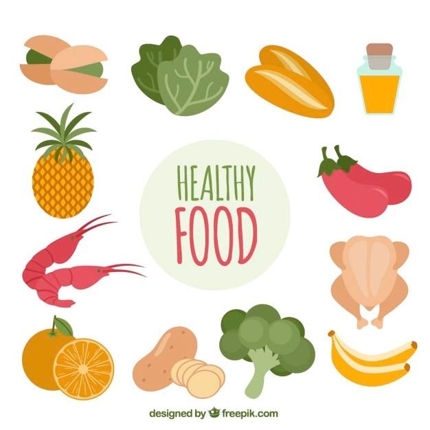 Variedade De Alimentos Saudaveis Colorido Vetor Gratis