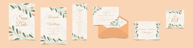 Variedade de artigos de papelaria floral do casamento Vetor grátis
