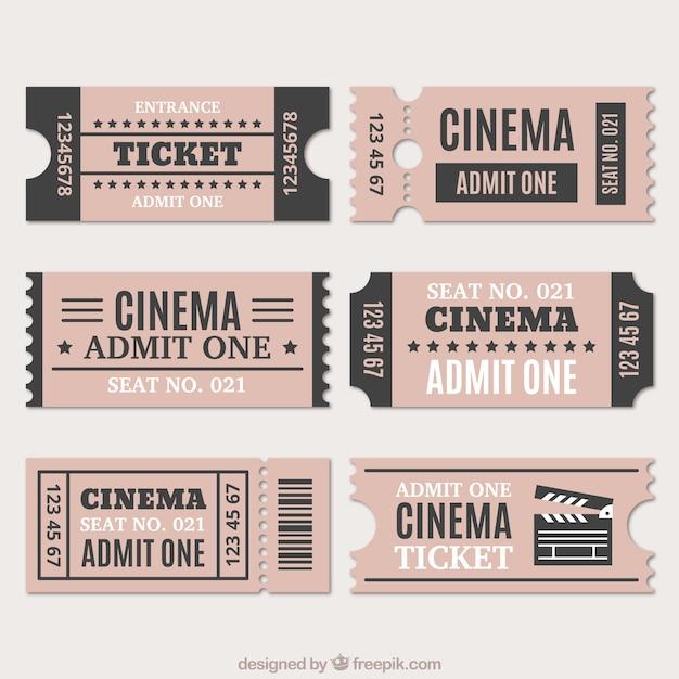 Variedade de bilhetes de cinema no estilo do vintage Vetor grátis
