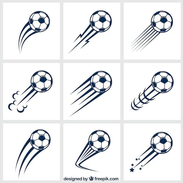 Variedade de bolas de futebol Vetor Premium