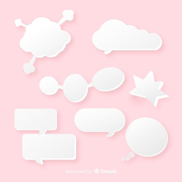 Variedade de bolhas de discurso de formas exclusivas Vetor grátis