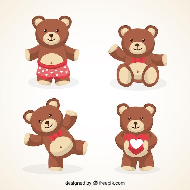 Variedade de bonito ursos de pelúcia Vetor grátis