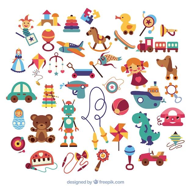 Variedade de brinquedos do miúdo Vetor grátis