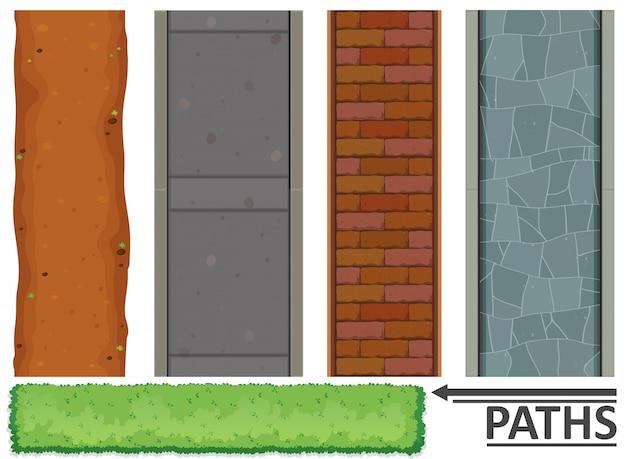 Variedade de caminhos e texturas Vetor grátis