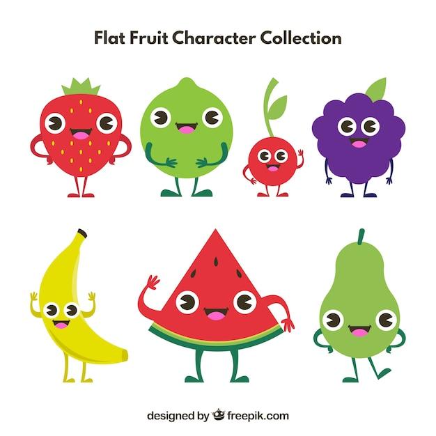 Variedade De Caracteres De Frutas Em Desenho Plano