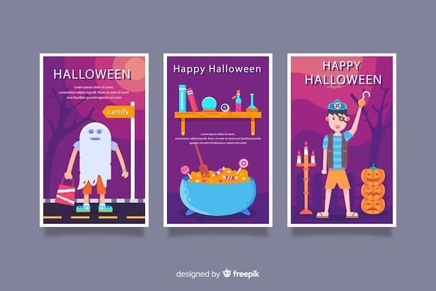 Variedade de cartões de feliz dia das bruxas plana Vetor grátis