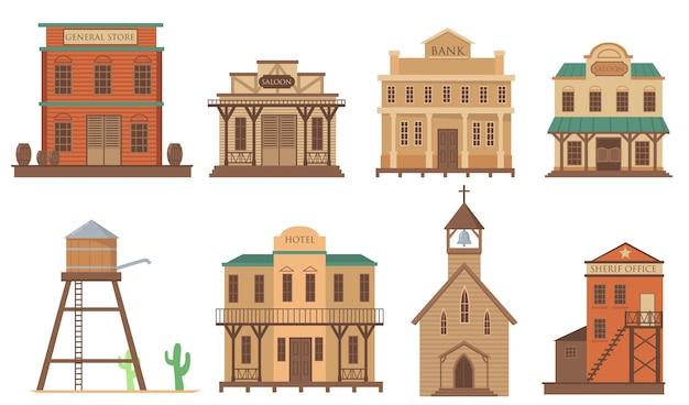 Variedade de casas antigas para conjunto de itens planos da cidade ocidental. desenhos animados tradicionais edifícios de madeira do oeste selvagem isolado coleção de ilustração vetorial. arquitetura e conceito de acomodação Vetor grátis
