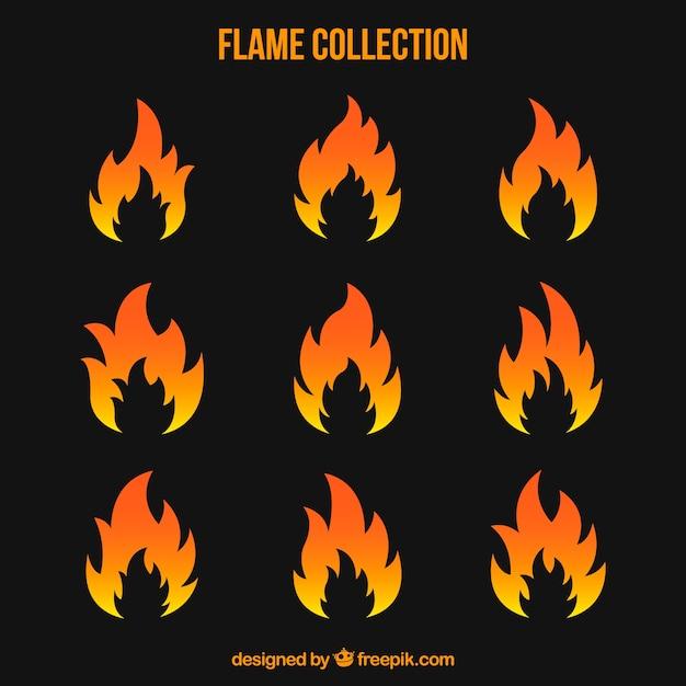 Variedade de chamas em design plano Vetor grátis