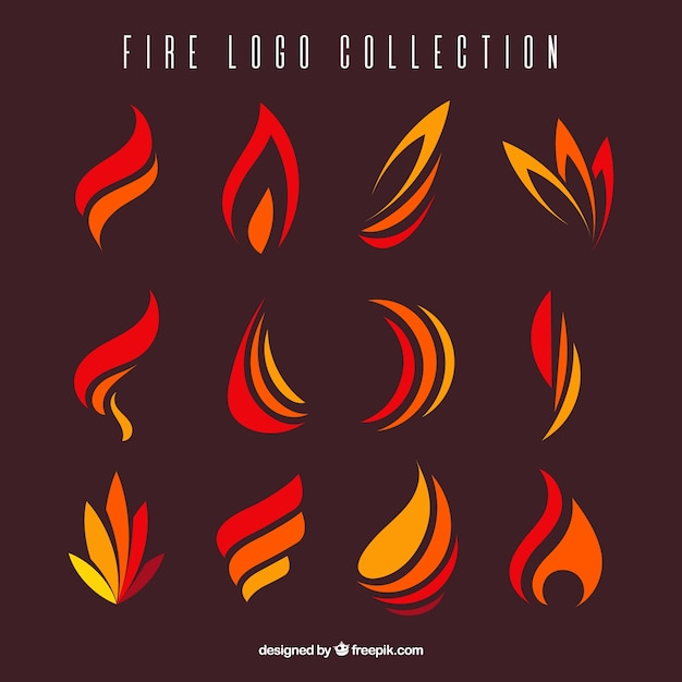 Variedade de chamas planas para logos Vetor Premium