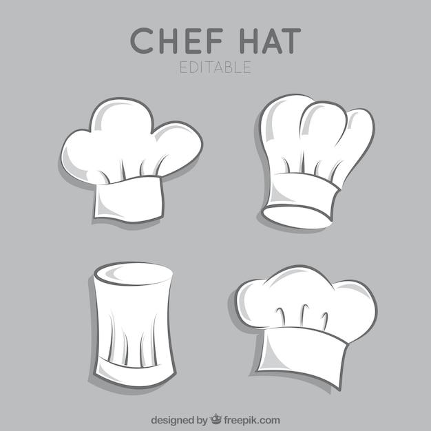 Variedade de chapéus de chef Vetor grátis