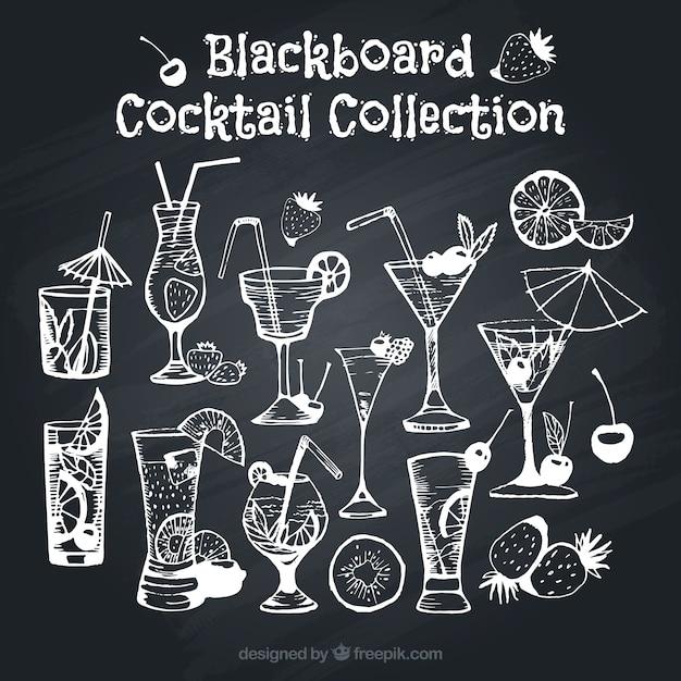 Variedade de cocktails no efeito quadro-negro Vetor grátis