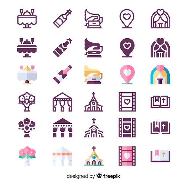 Variedade de coleção de ícones de casamento Vetor grátis