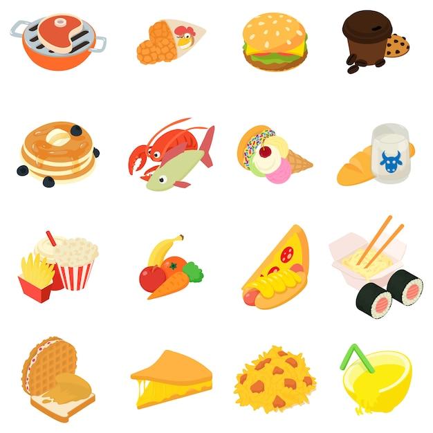 Variedade de conjunto de ícones de comida Vetor Premium
