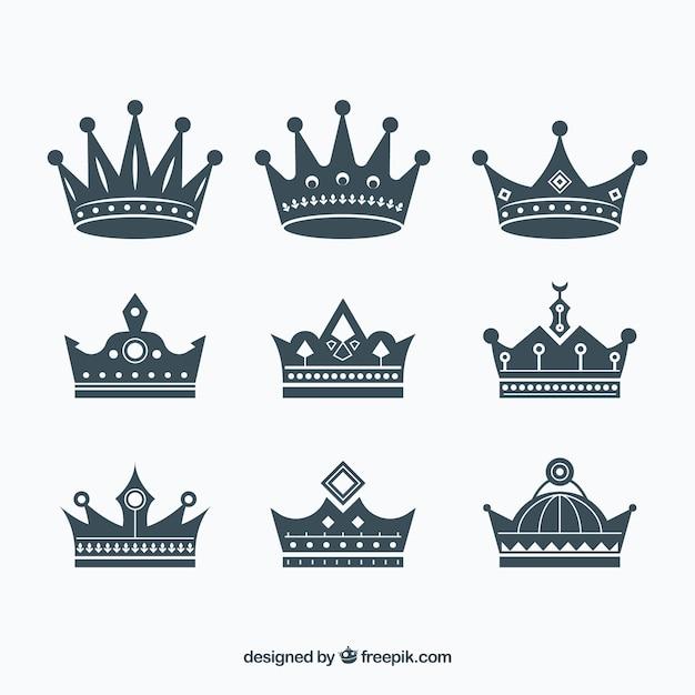 Variedade de coroas planas com ótimos desenhos Vetor grátis
