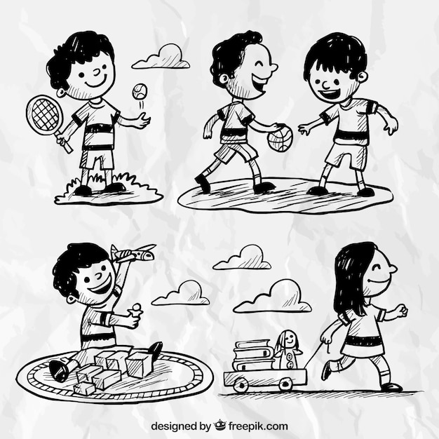 Variedade de crianças desenhados à mão tendo um grande momento Vetor grátis