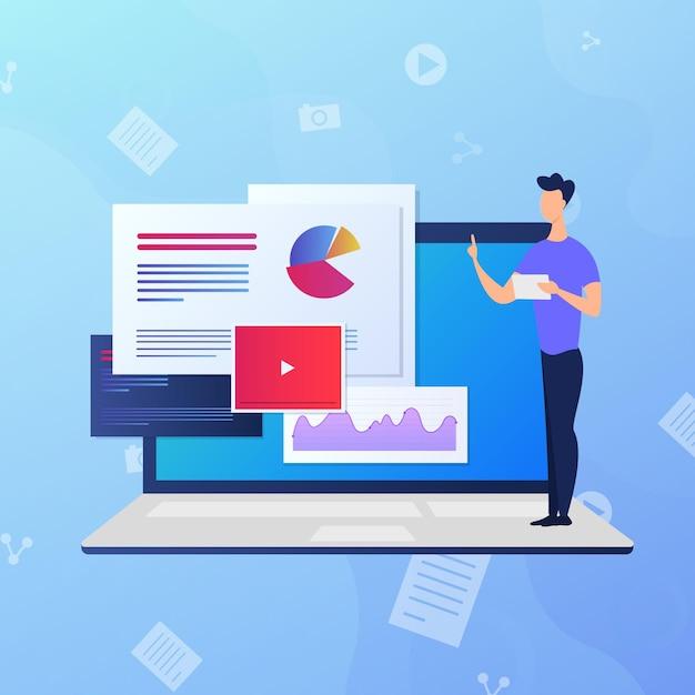 Variedade de cursos on-line com tutores Vetor Premium