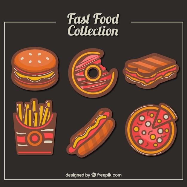 Variedade de deliciosos fast food Vetor grátis