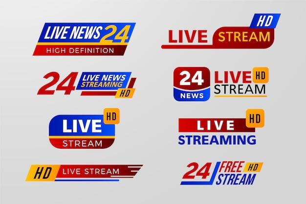 Variedade de design para banners de notícias de transmissões ao vivo Vetor Premium