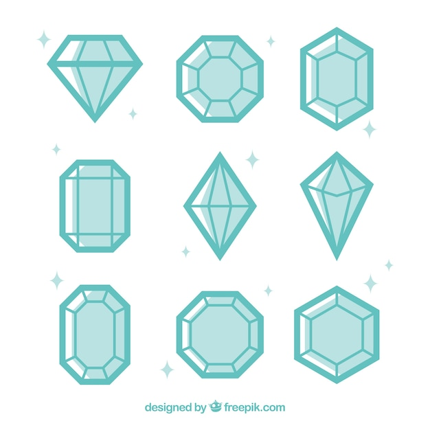 Variedade de diamantes no design plano Vetor grátis