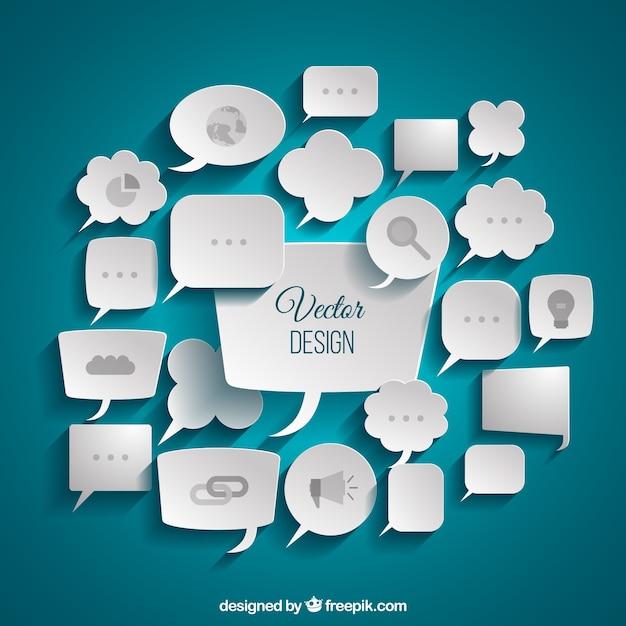 Variedade de discurso negócio bolhas Vetor grátis