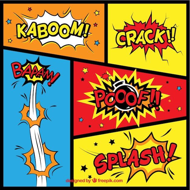Comic Aun Book Cover Illustration Ver : Variedade de efeitos sonoros em quadrinhos baixar