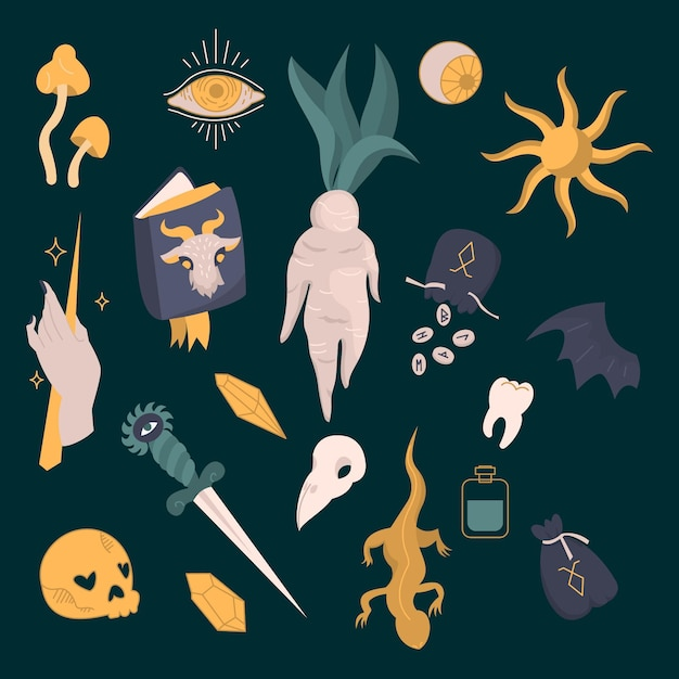 Variedade de elementos esotéricos Vetor grátis