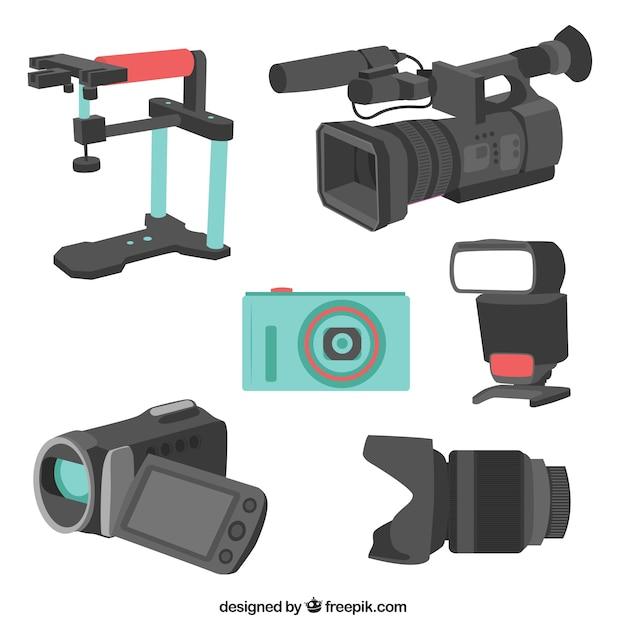 Variedade de equipamentos de câmera Vetor grátis