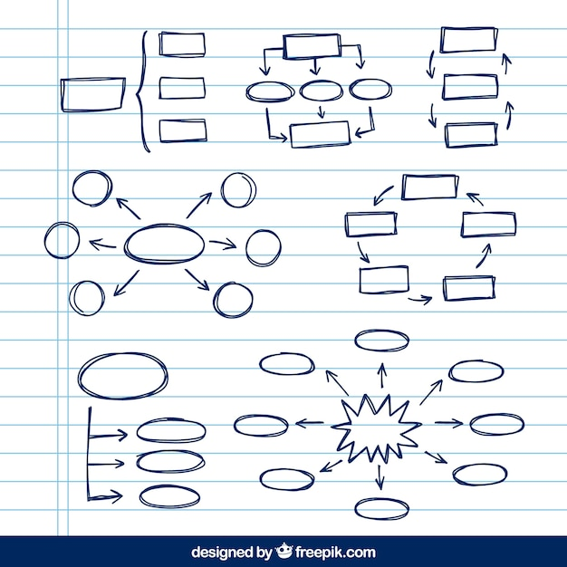 Variedade de esquemas desenhados à mão Vetor grátis