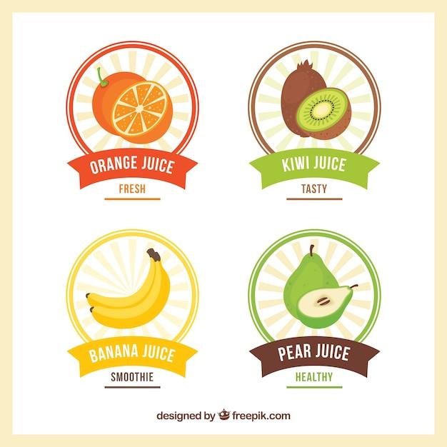 Variedade de etiquetas de frutas redondas em design plano Vetor grátis