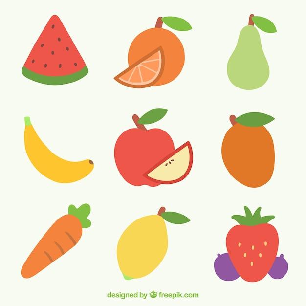 Variedade de frutas Vetor grátis