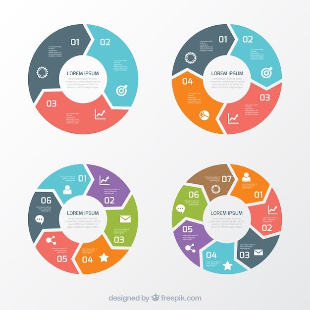 Variedade de gráficos redondos Vetor grátis