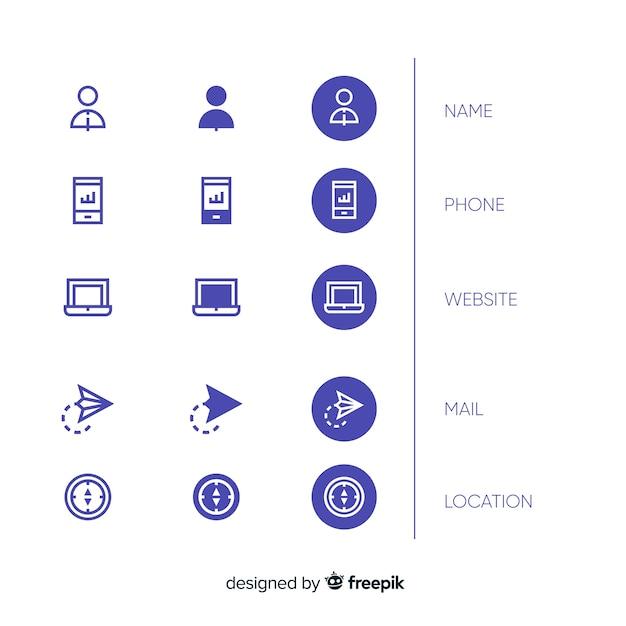 Variedade de ícones de cartão de visita de design plano Vetor grátis