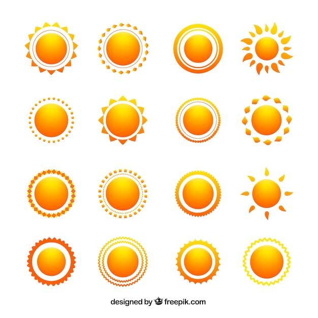 Variedade de ícones do sol Vetor grátis