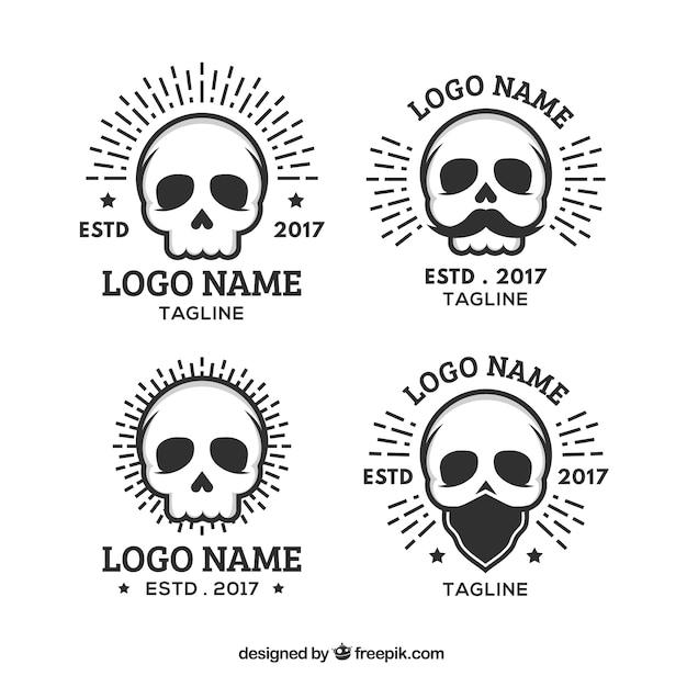 Variedade de logos crânio achatado Vetor grátis
